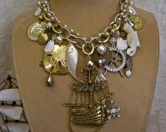 FOUND GOLD: Pirate Necklace Statement Huge Pirate Ship Vintage Assemblage Gold Silver Shells Genuine Coins Skull Ships Wheel Crystals