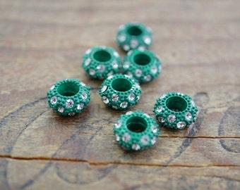 Metal Bead with Rhinestones Large Hole Beads Colored Beads set with Rhinestones (4)