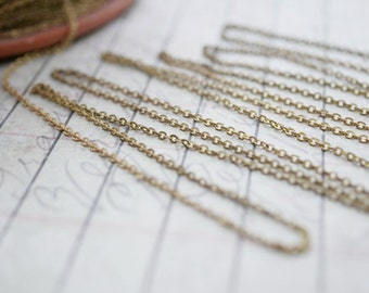 Chain Vintage Small 1.2mm Brass Cable Chain with Patina CH24 Bulk Chain (Sold by the Foot)