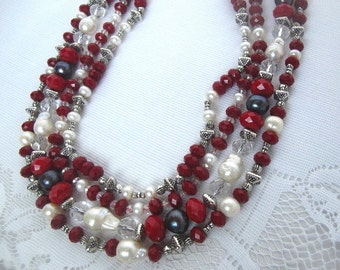 SALE Red Ruby and Pearl Bold Colorful Multi Strand Necklace with Red Rubies Sea Pearls Crystals and Silver Beads Layering Statement Necklace