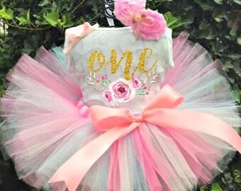 Pink Glitter Tutu Set - Pink Glitter Birthday Tutu - Pink Tutu