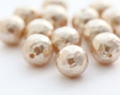 Vintage Pearly Textured Dimpled Lucite Round Tan Pearl Beads 16mm (8)