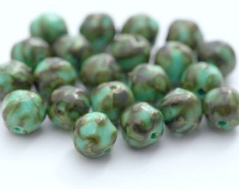 Vintage Lucite Marbled Green Brown Round Nugget Beads 8mm (30)
