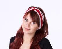 Wide Headband Headwrap Gift For Her Women's Gift Red White Stripe 1920s Headband Boho Chic Turban Twist Headband Spring Fashion Spring Style