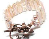 cuff statement bracelet blush peach kishi pearl copper toggle clasp