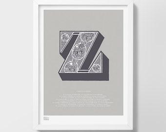 Illustrated Letter Z, Letter Z, Alphabet Print, Alphabet Art Print, Z, Zebra, Illustrated Art Print, Illustrated Alphabet, Letter Z Wall Art