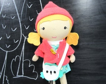 "Handcrafted STUDIO DOLL 15"" - Girl in the Hooded Jacket with Bird Purse. Handmade, Doll, Girl, Toy, Plush, Children, Gift"