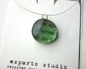 Generous Necklace, book page necklace, literary necklace