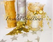 """6"""" x 10 yards Large  Glitter STAR Tulle Gold or Silver"""