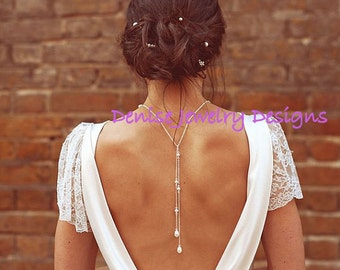 Backdrop Necklace, Bridal Back Necklace, Bridal Jewelry, Pearl Back Jewelry, Gift for Bridesmaids, Tie Lariat Necklace, Love Me Do Back Drop
