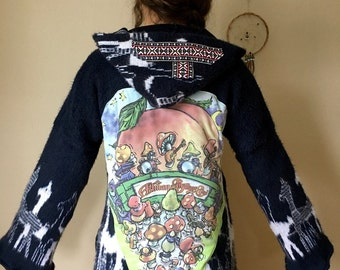 Allman Brothers Band Blue Llama Tribal Print Pattern Upcycled Babydoll Bell Sleeve Hooded Jacket OOAK Hippie Bohemian Hoodie Size S/M