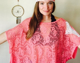 Pink Lace Fringe and Crochet Layering Flowy Open Back Gypsy Top Ponco Boho Upcycled Festival Hippie Eco Friendly One Size
