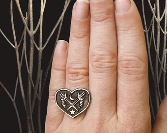 Crossed Heart Ring - handmade from copper in my studio - by Jamie Spinello - Valentines Gift