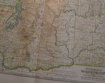 1899 State Map Washington - Vintage Antique Map Great for Framing 100 Years Old