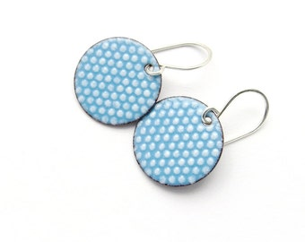 Blue Enamel Earrings - Aqua Blue Earrings with White Polka Dots - Round Polka Dot Earrings - Gift for her