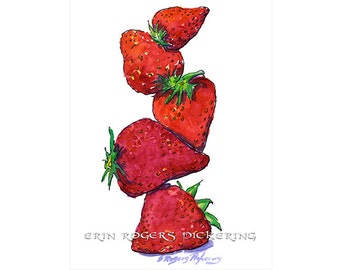 Strawberry Season 8x10 kitchen art print Day 63 of 100 days