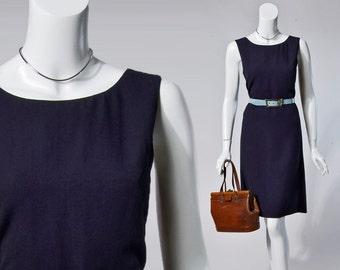 90s Valentino MissV navy blue textured sheath dress | medium
