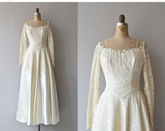 25% OFF SALE Trillium wedding gown | vintage 1950s wedding dress • lace 50s wedding gown