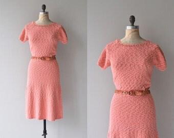 Ciacona knit dress   vintage 1950s dress   pink 50s knit dress