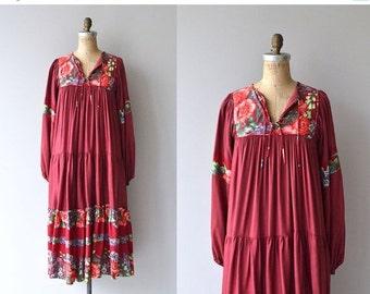 25% OFF.... Bohemian Rose dress | vintage 1970s dress | floral 70s festival dress