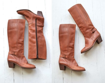 Vauxhall leather boots | vintage tall leather boots | brown leather heeled knee high boots 7