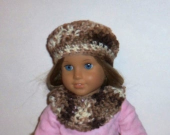 18 inch Doll Hat, Cowl Neck Scarf, Crochet Beret, Brown Beige Multi, Accessories, American Made, Girl Doll Clothes