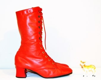 Vintage Boots Red Leather with Laces