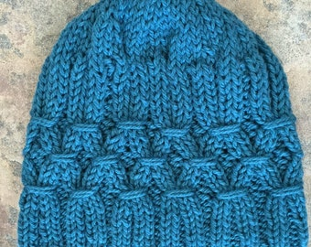 Hand Knit Smocked Wool Hat - Teal
