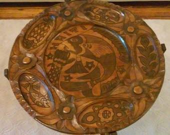 "STUNNING Vintage Haitian Wood Carved Coffee Table- ""Haiti"" Reversible Table top"