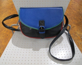 80s Color Block Leather Purse