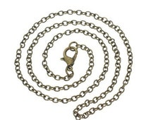 Necklace Chain Antique Brass Ox plated Iron Link oval 2x3mm - quality cable chain with Lobster Claw