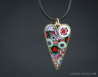Flower Millefiori Mosaic Wearable Art - Pendant Necklace