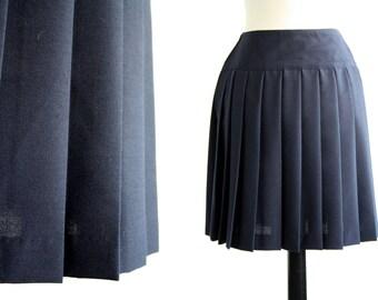 Vintage Navy Blue Benetton Pleated Mini Skirt