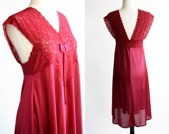 Merlot Raspberry Color Poly 80's Sleeping Gown Dressing Shirt Nightgown Lingerie