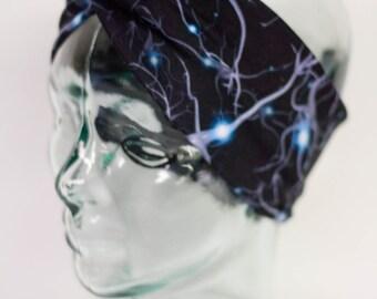 Synapse Turban Knot Headband - Brain nerdy geeky doctor gift sweatband yoga headband jogging headband Pilates cross fit marathon runner blue