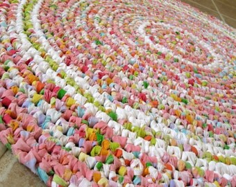"Round rag rug. Crochet, pink, rose, cottage, Shabby Chic, eco, recycle, 30""."