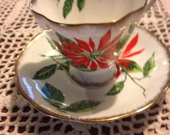 Poinsettia  royal standard fine bone china tea cup and saucer Christmas Holidays