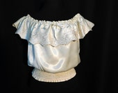 Vintage 70s Ivory Off White Satin Crop Top Ruffle Embroidered Off Shoulder Smocked Romantic Sexy Festival Disco Bohemian S Small M Medium