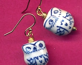 Owl Earrings, 18 K golf Filled Ear wire Owl Earrings, Blue Gold White Owl Earrings, Hoot Earrings, Bird Earrings, Owl Jewelry by Annaart72