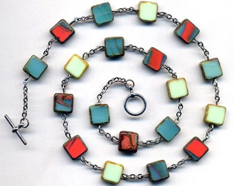 Coral, Mint Green, Turquoise Necklace, Colorful Rare Czech Glass Necklace, Silver Metal Chain, OOAK Necklace - handmade jewelry by AnnaArt72