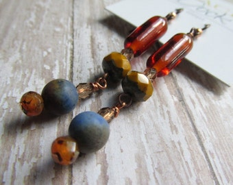 Vintage Czech Glass and Sunset Dumerite Earrings, Boho Style Earrings, Orange, Blue, Mustard, Tracee Dock, The Classic Bead