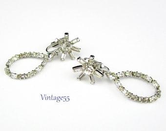 Earrings Rhinestone Flower Baguette clip on