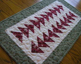 Quilted Table Runner / Flying Geese Quilted Table Runner/Topper, 16 x 26 1/2 inches