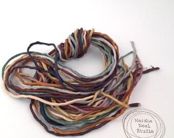 Silk Ribbon Cord Bundle Item No.382 Contains Ten 2mm Silk Ribbons Random Colors