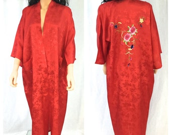 Vintage Long Maxi Red Robe. Embroidered. Roses. Floral. Nature Scene. Small. Adjustable. Asian. Robe. 1970s. Cherry Red. Cover Up. Lingerie.