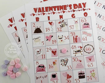 21 Valentines Bingo Game For Home, Church or School Parties  Hearts