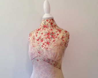 vintage 1950's slip // 50's pink chiffon lace dress // floral embroidered bodice