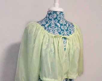 50% off storewide SALE Vintage 1960s bed jacket // pullover crop pj top neon green chiffon 60s