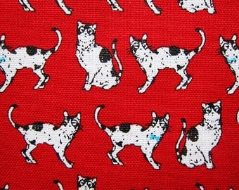 Animal Print Fabric By The Yard - Black and White Cats on Red - Cotton Fabric - Half Yard