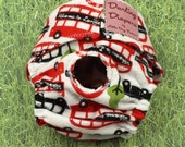 XS Dog Diapers London Bus on White